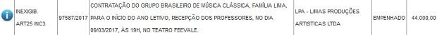 Prefeitura contratou banda Família Lima por R$ 44 mil para tocar em festa dos professores (Foto: Reprodução)