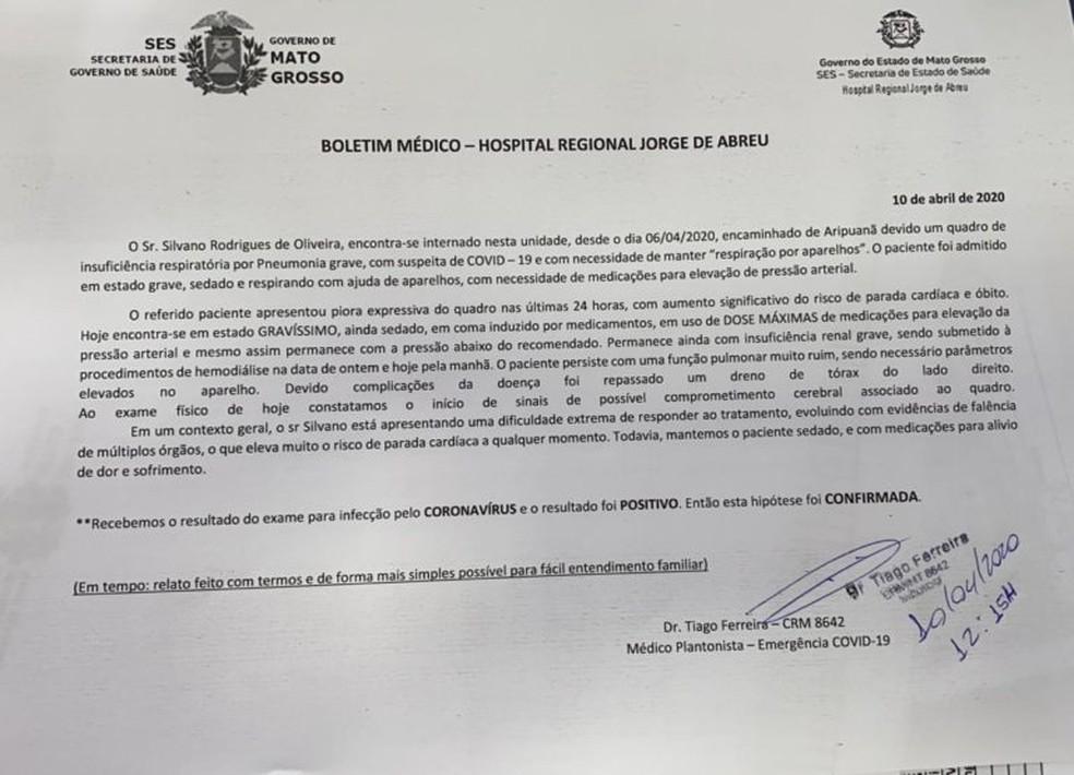 Boletim médico emitido na sexta-feira (10) pelo Hospital Regional de Sinop — Foto: Divulgação