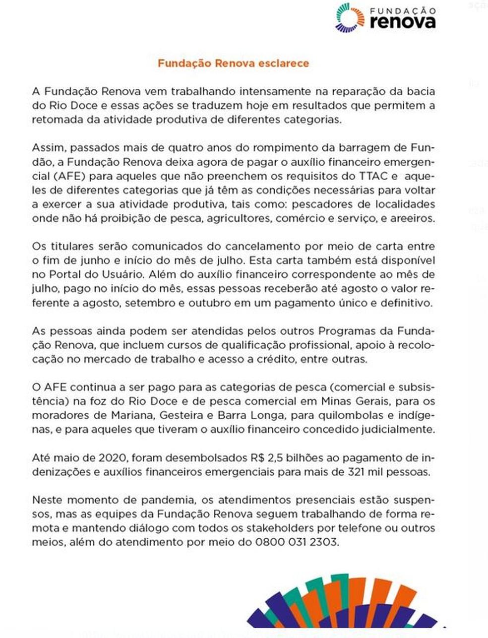 Renova enviou ofício comunicando o fim do pagamento — Foto: Fundação Renova