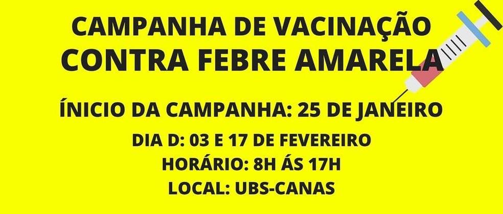 Campanha de vacinação na cidade de Canas (Foto: Divulgação/ PMC)