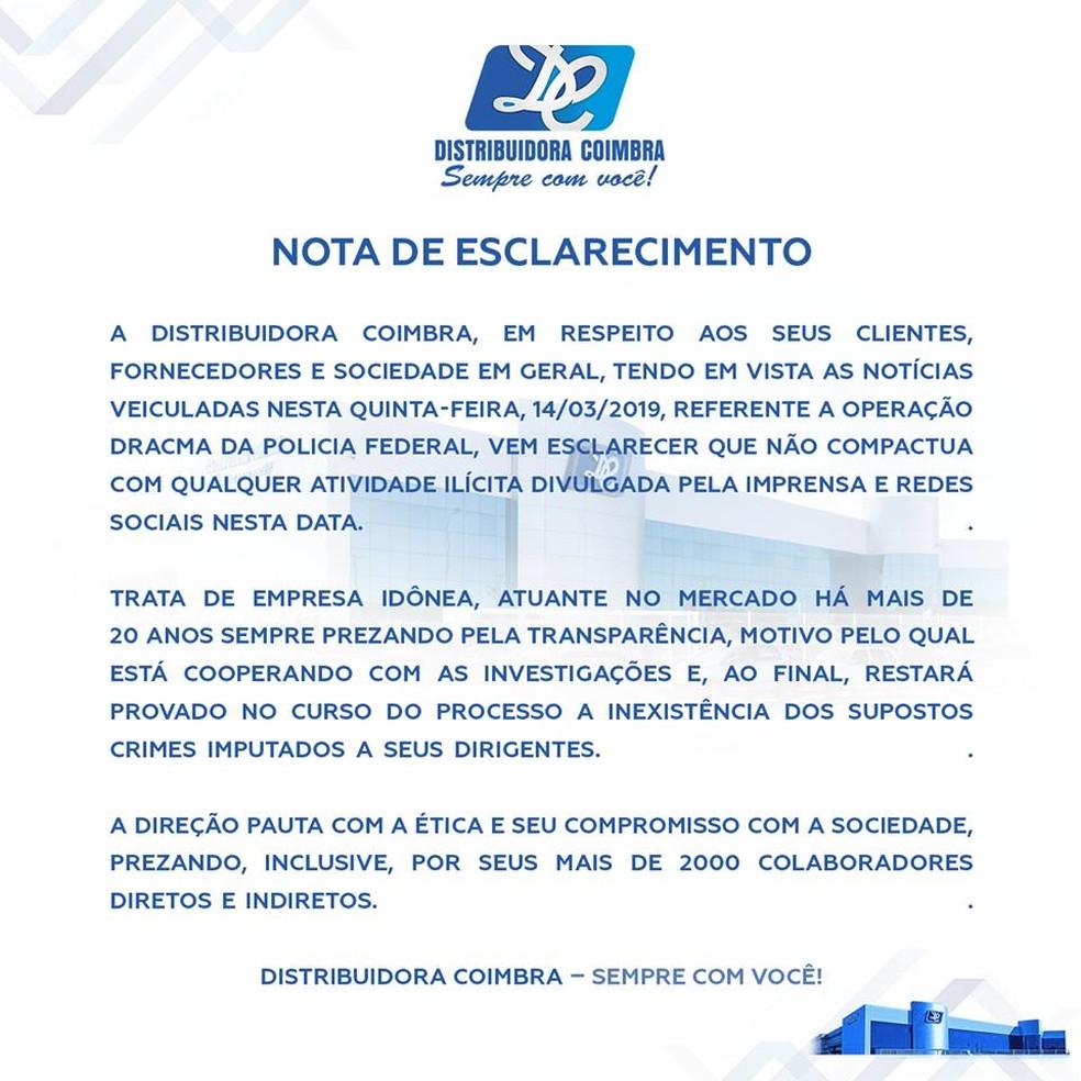 Nota do grupo Coimbra sobre operação — Foto: Reprodução/Facebook