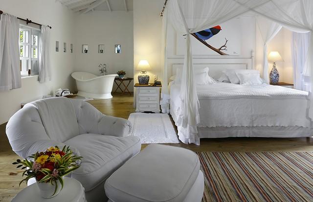 Um dos quartos da Pousada Tangará, em Trancoso (Foto: Divulgação)