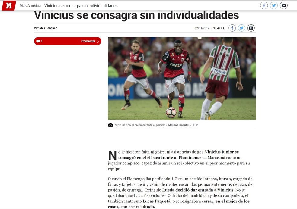 Vinicius Junior foi destaque no jornal Marca após o Fla-Flu pela Sul-Americana (Foto: Reprodução)