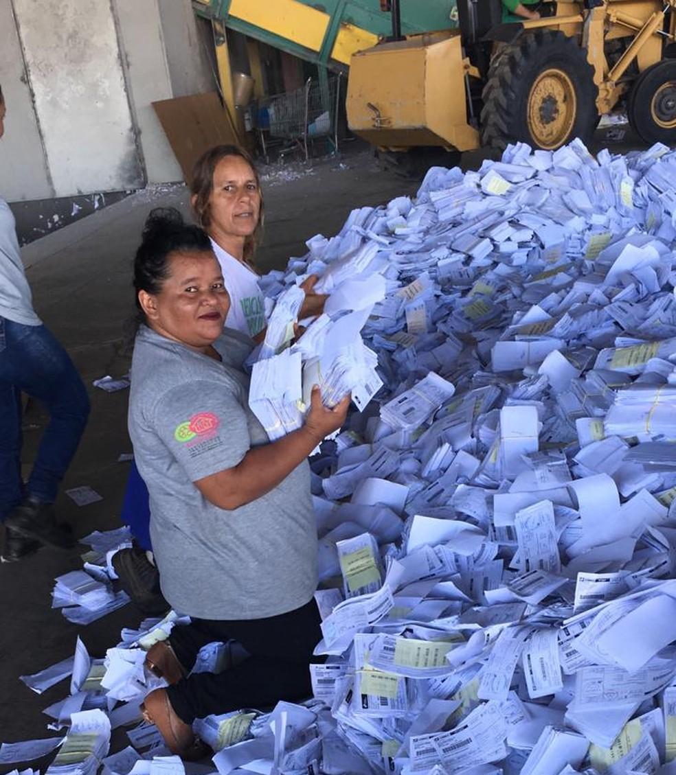 Lúcia Fernandes na separação de papel entregue no galpão de triagem do GDF — Foto: Arquivo pessoal