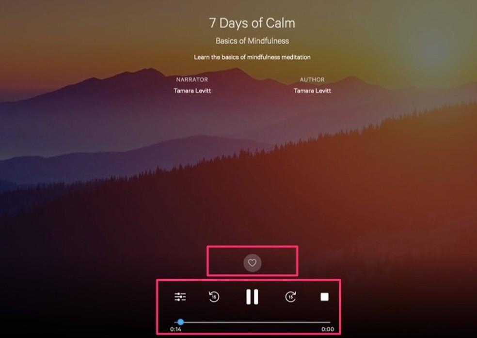 Tela com o player de áudio do serviço online Calm ? Foto: Reprodução/Marvin Costa