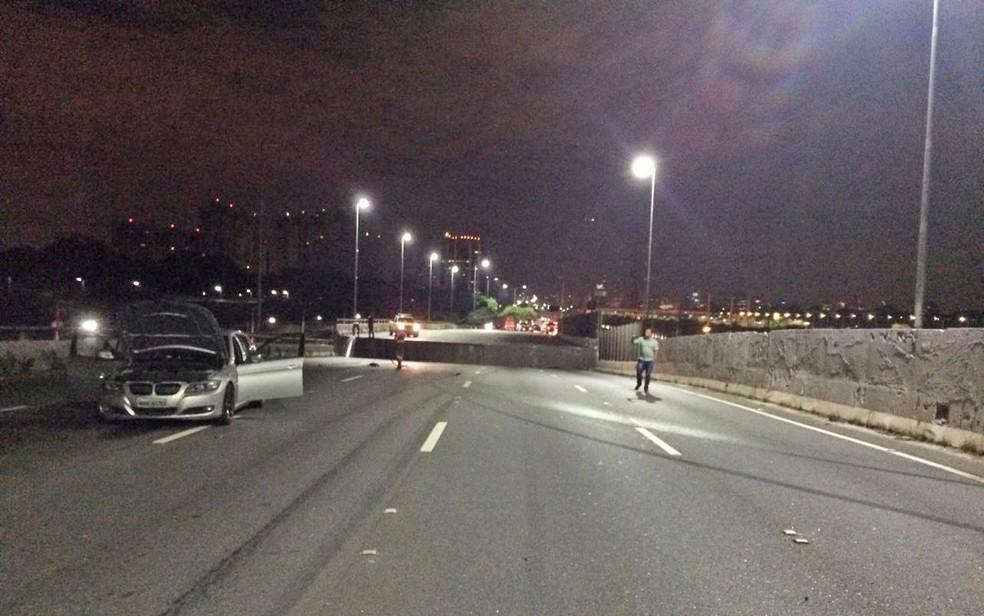 Degrau em viaduto que cedeu na Marginal Pinheiros no último dia 15 de novembro na Zona Oeste de São Paulo — Foto: Reprodução/Divulgação/Arquivo pessoal