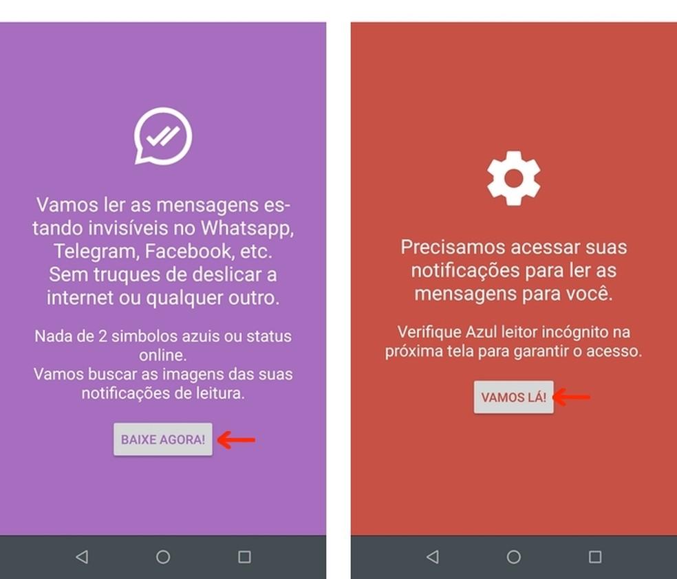 Acesse as configurações do celular a partir das telas iniciais do Blue Tick, Read Hider, app para ler mensagens do WhatsApp escondido — Foto: Reprodução/Raquel Freire