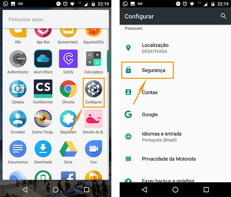 Acesse as configurações de segurança no Android (Foto: Reprodução/Barbara Mannara)