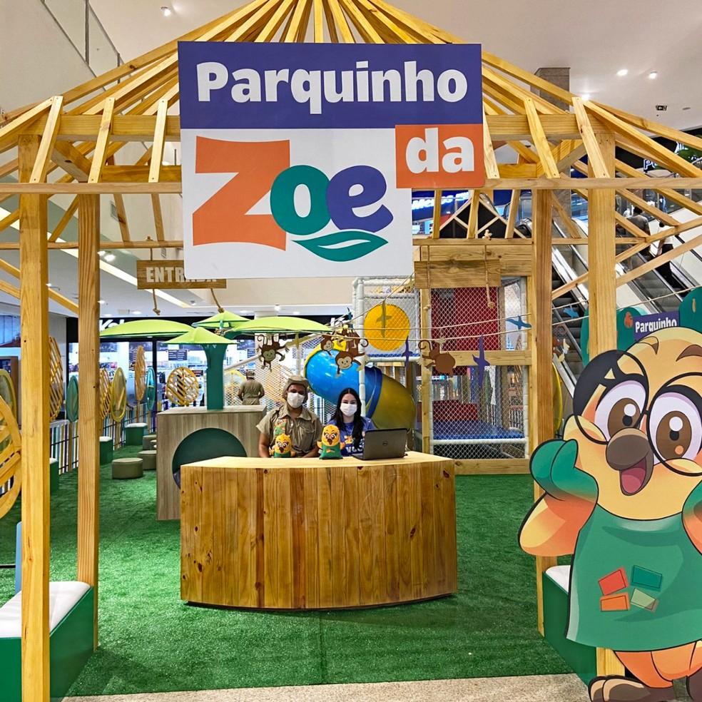 Parquinho da Zoe, no North Shopping Fortaleza, tem acesso gratuito mediante validação de cupom disponibilizado no aplicativo do shopping. — Foto: North Shopping Fortaleza/ Divulgação