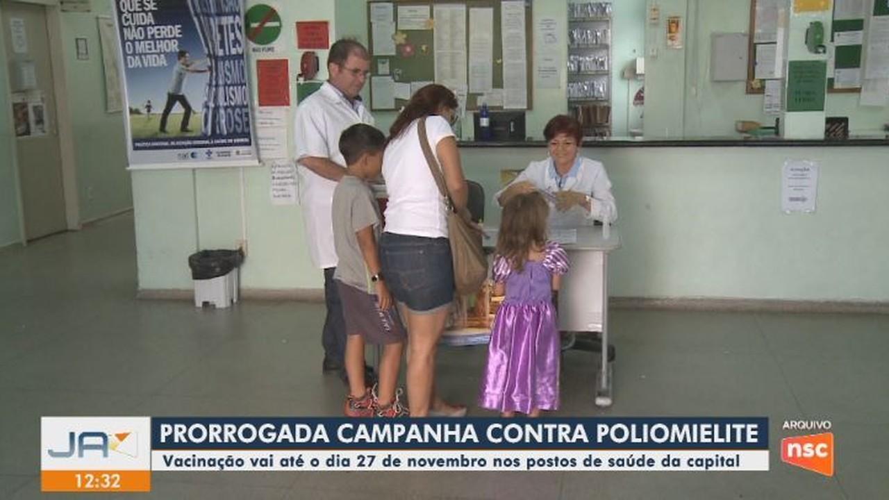 Campanha de vacinação contra polio foi prorrogada nos postos de saúde de Florianópolis