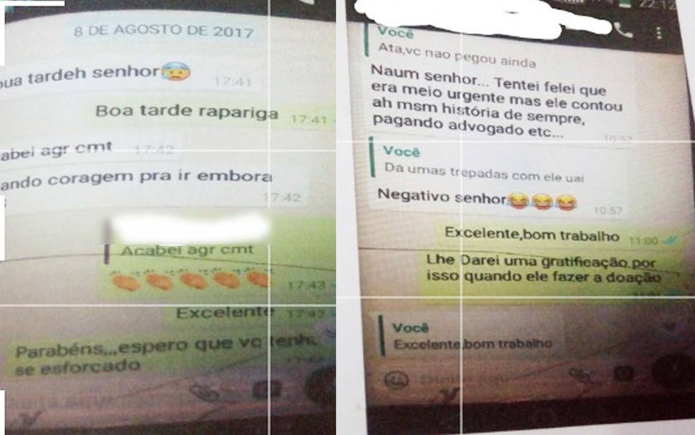 Polícia encontrou mensagens no celular do coordenador: ele chama a adolescente de rapariga e manda mensagens com conotação sexual (Foto: Polícia Civil de Mato Grosso)