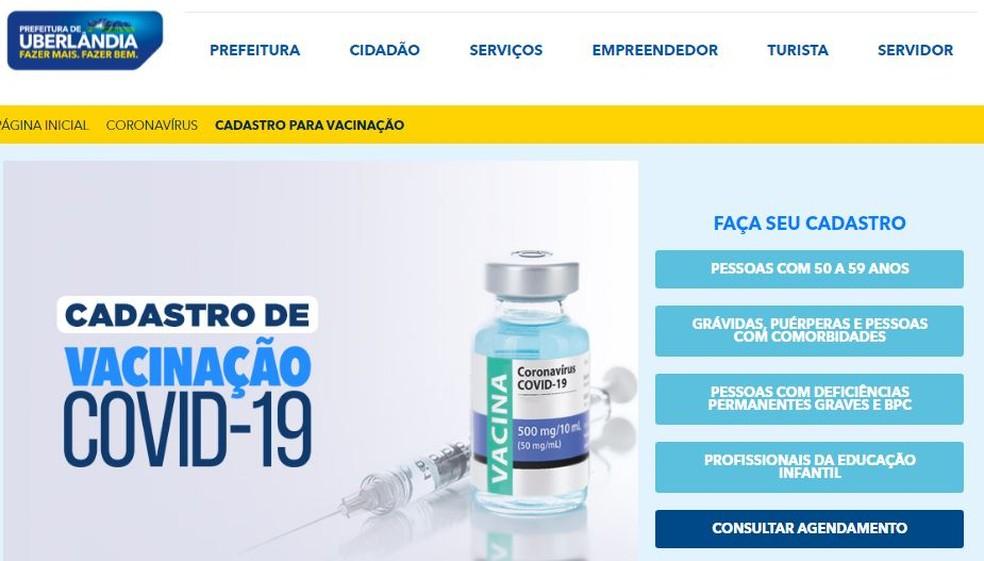 Cadastro para vacinação da Covid-19 de pessoas sem comorbidade de 50 a 59 anos — Foto: Reprodução/Site Prefeitura de Uberlândia