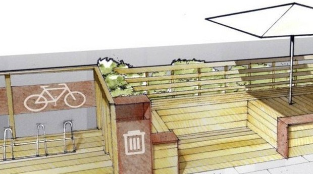 Projeto. O parkelet da Temakeria e Cia terá bicicletário, bancos, mesas, ombrelones e tratamento paisagístico  (Foto: Divulgação)