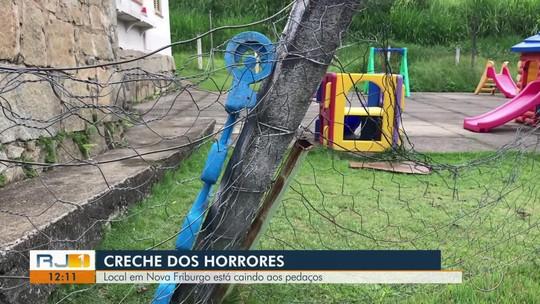 Pais registram rachaduras, telhas quebradas e até aranha perto de berçário em creche no RJ