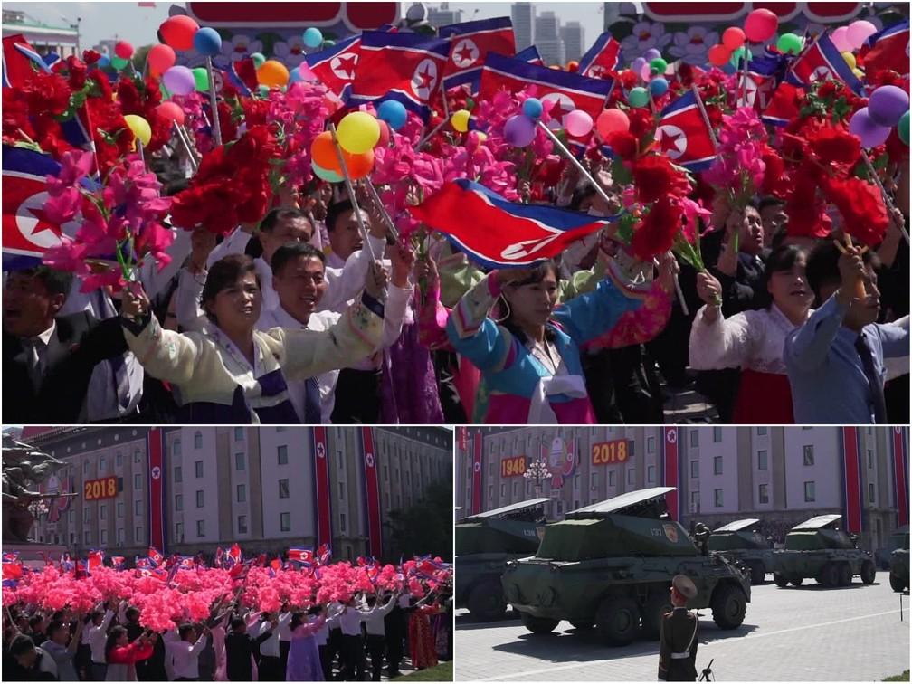 População mostra sua devoção ao país na parada de 70 anos de nascimento da Coreia do Norte — Foto: Reprodução/Fantástico