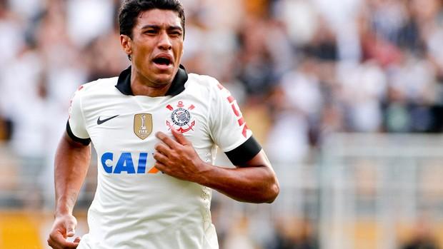 Paulinho comemora, Corinthians x Santos (Foto: Rodrigo Coca/Agência Estado)