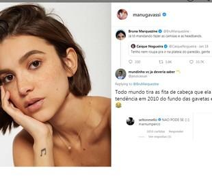 Manu Gavassi ganhou a torcida de Bruna Marquezine. O ator Selton Mello também mostrou empolgação com sua entrada   Reprodução/ Instagram e Twitter