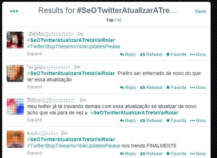 Usuários reclamam de mudanças no Twitter (Foto: Reprodução/Thiago Barros)