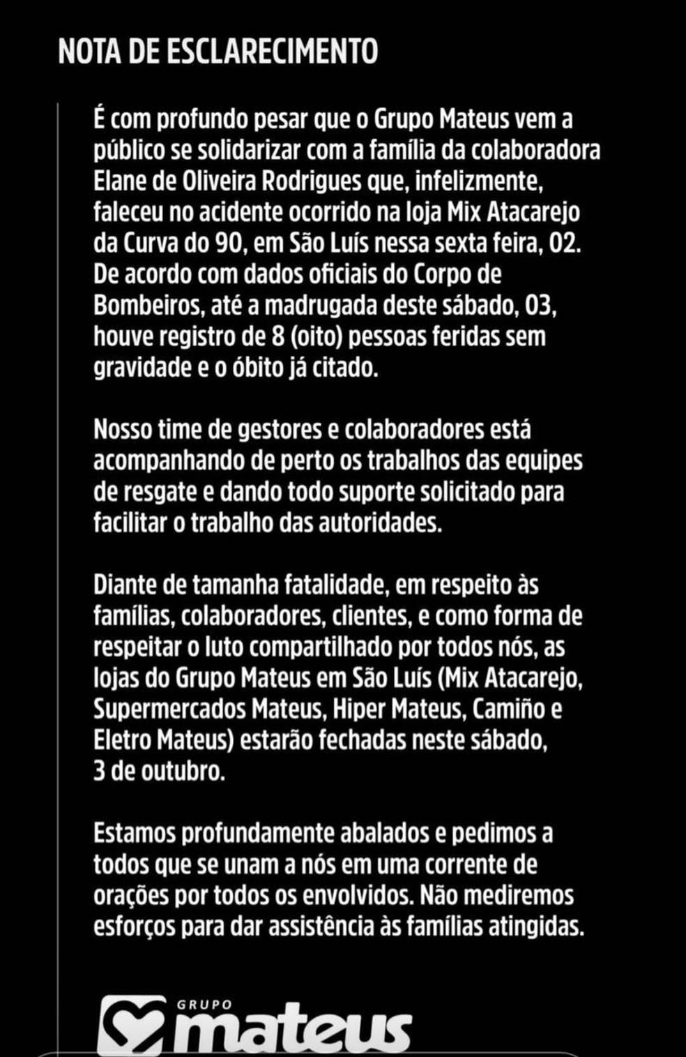 Grupo Mateus emite nota sobre o acidente em supermercado em São Luís — Foto: Divulgação