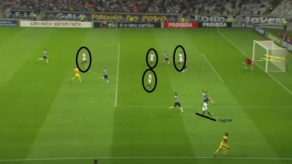 Superioridade numérica na área: foi assim no gol de Jô (e também em chances no segundo tempo) (Foto: Reprodução)