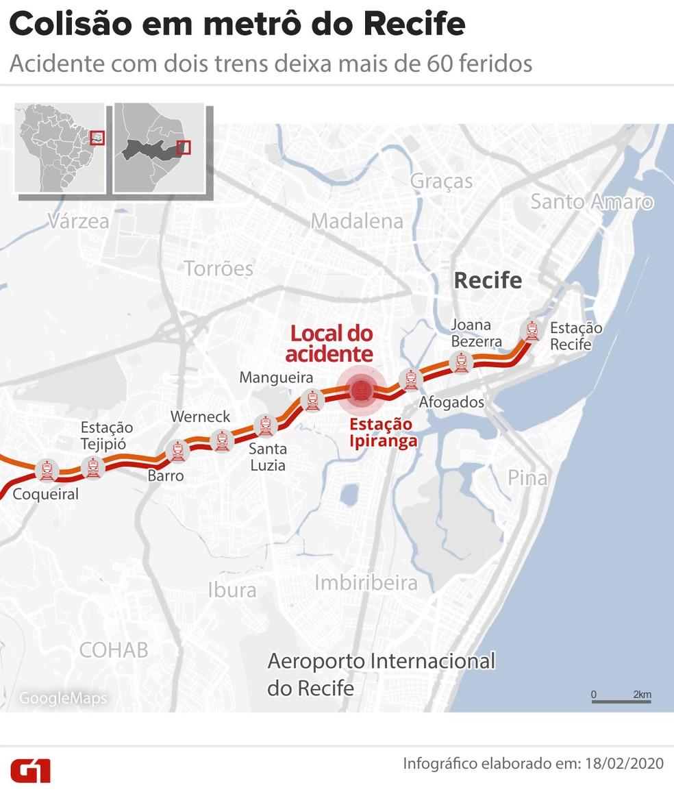 Acidente no Metrô do Recife — Foto: Arte/G1