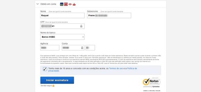 Formulário para informar dados bancários ao Netflix
