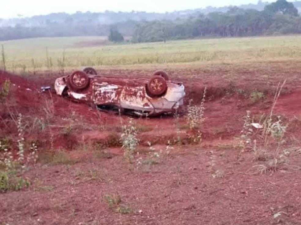 Motorista sem cinto de segurança morreu ao capotar carro e ser arremessada em Porto dos Gaúchos — Foto: Divulgação