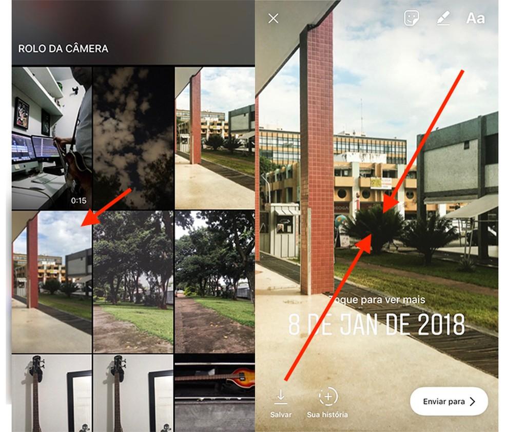 Ação para colocar uma imagem no enquadramento original no Instagram Stories (Foto: Reprodução/Marvin Costa)