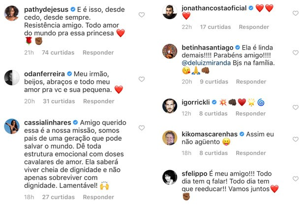 Colegas comentaram no post de André Luiz Miranda (Foto: Reprodução / Instagram)