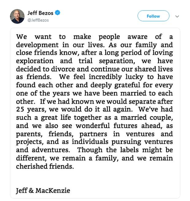 O comunicado de Jeff Bezos no Twitter (Foto: Reprodução Twitter)