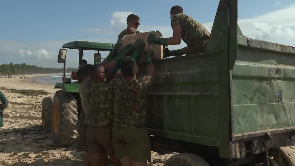 Exército ajuda na retirada do óleo das praias do Cabo de Santo Agostinho — Foto: Reprodução/TV Globo