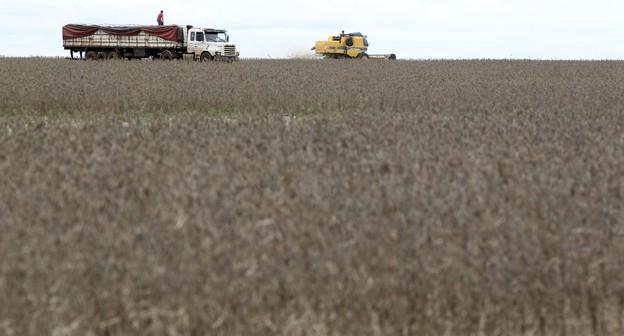 Caminhão é carregado com soja em fazenda no Brasil