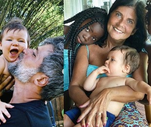 Bruno Gagliasso com Zyan e, à direita, a mãe dele com os outros filhos do ator | Reprodução/Instagram
