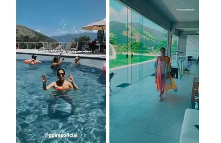 Gloria Pires à esquerda; à direita, Antonia Morais desfila na sala Reprodução/Instagram