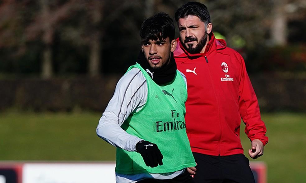 Lucas Paquetá e Gattuso no treino do Milan — Foto: Divulgação/Milan