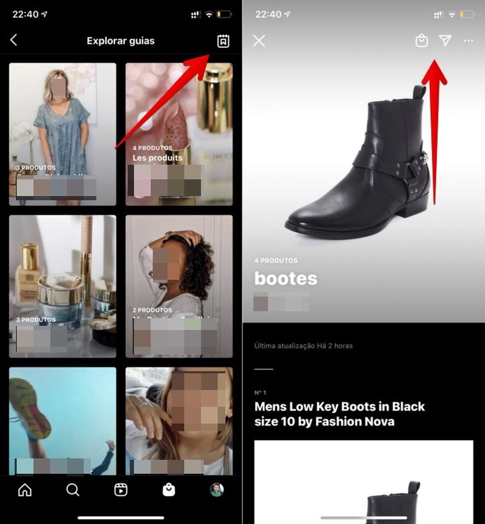 Acessando guias no Instagram Shop — Foto: Reprodução/Helito Beggiora