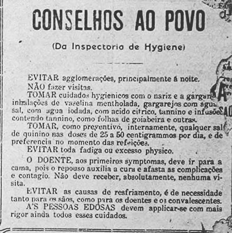 """O informativo """"Conselhos ao Povo"""", com orientações para conter a gripe espanhola"""