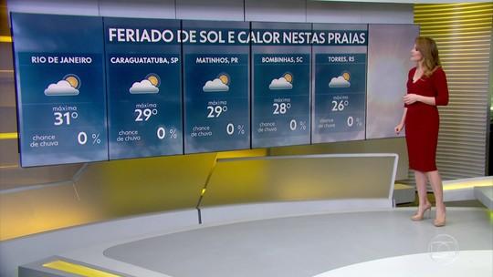 Feriado tem Sol e calor predominando pelo Brasil