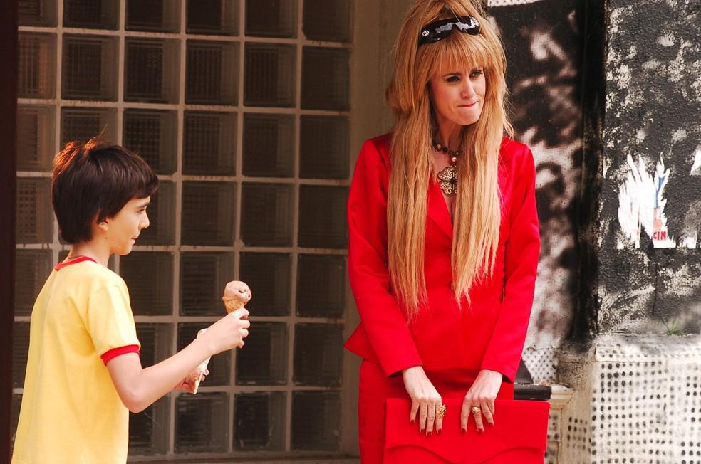 Márcia Cabrita como Cacá em cena ao lado de Marcelo Miranda em episódio de 2007 do 'Sítio do picapau amarelo' (Foto: TV Globo / Márcio de Souza)