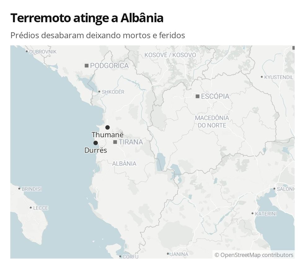 Terremoto atinge a Albânia — Foto: G 1