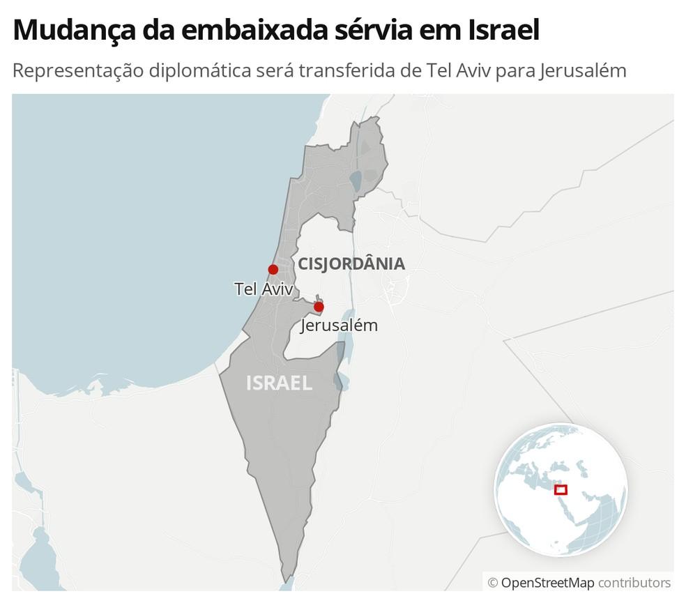 Mudança da embaixada sérvia em Israel — Foto: G1