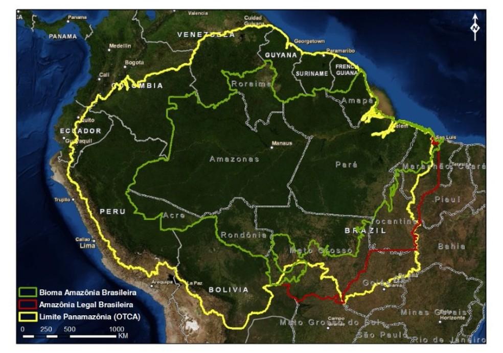 Mapa mostra os limites do bioma amazônico no Brasil (verde), da região administrativa chamada Amazônia Legal (vermelho) e da Pan-Amazônia (amarelo) — Foto: Reprodução/Ipea/Exército Brasileiro