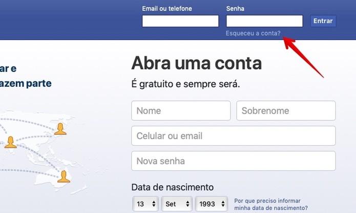 Acesse o assistente de recuperação de conta do Facebook (Foto: Reprodução/Helito Bijora)