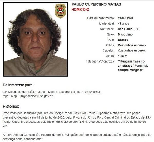 Após mais de um ano foragido, Paulo Cupertino Matias entra na lista de mais procurados da Polícia Civil de São Paulo — Foto: Reprodução/Polícia Civil de SP