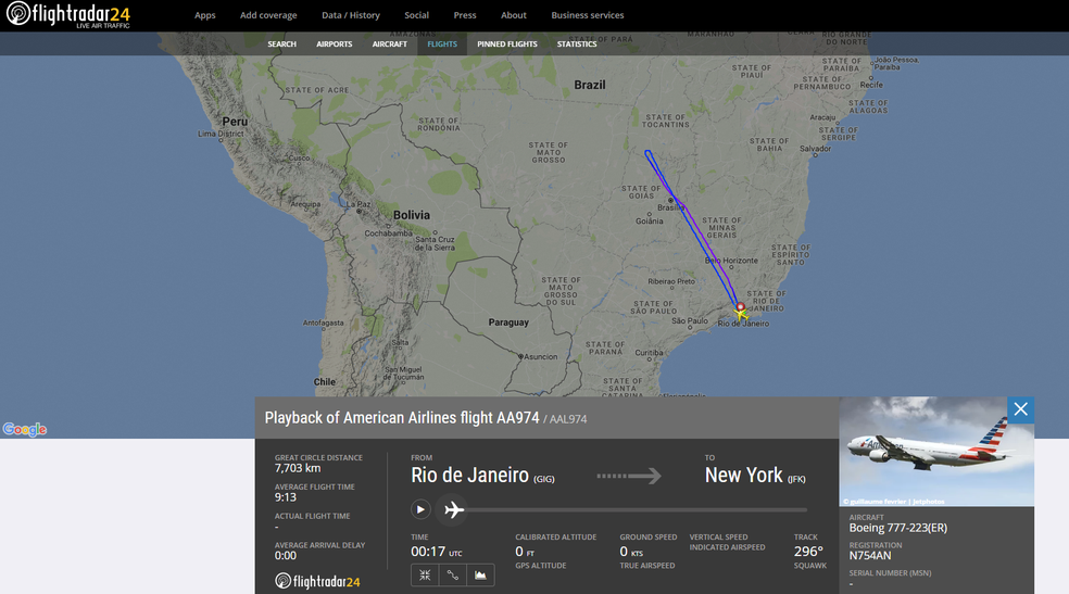 Trajetória do voo AA974, que teve de retornar ao Galeão (Foto: Reprodução/Flightradar24)