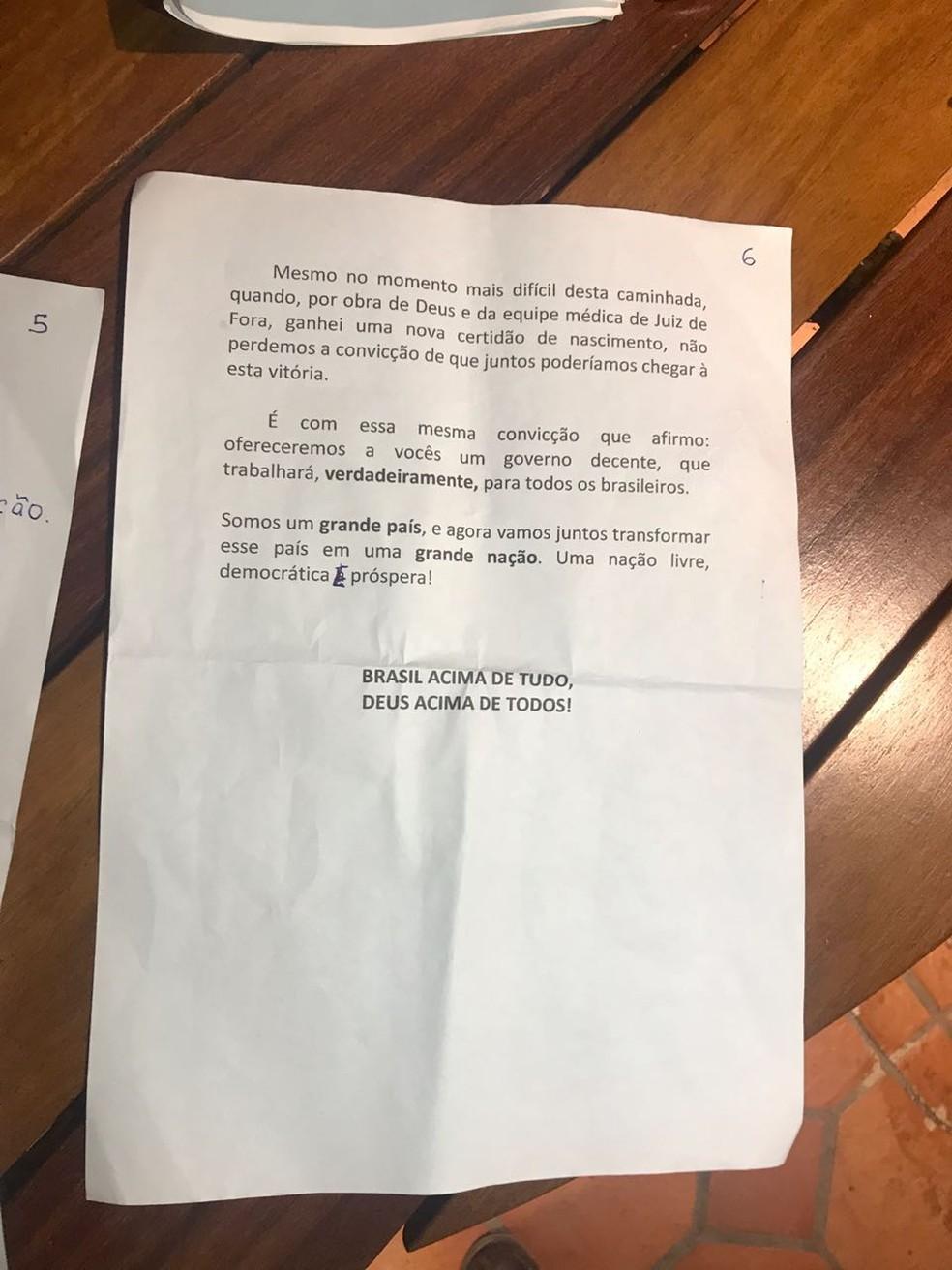 Discurso de Bolsonaro - página 6 — Foto: Reprodução