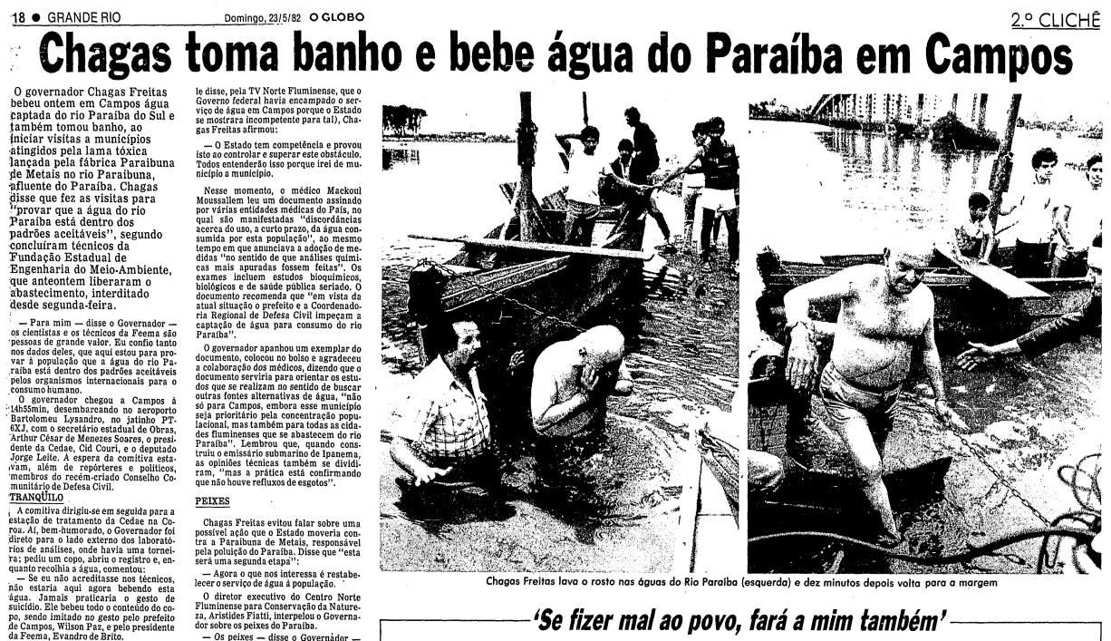 Página da edição do GLOBO de 23 de maio de 1982