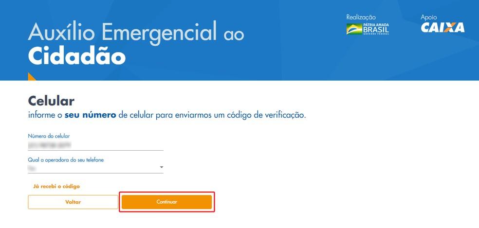 Informe o número do seu celular e a operadora — Foto: Reprodução/Caixa