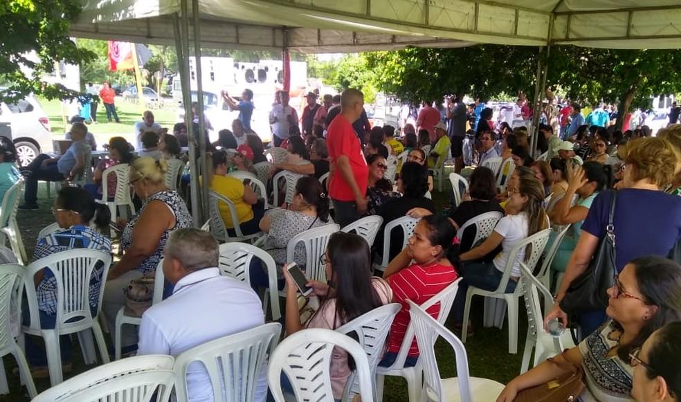 Servidores fazem protesto contra atraso de salários no RN (Foto: Sinsp/Divulgação)