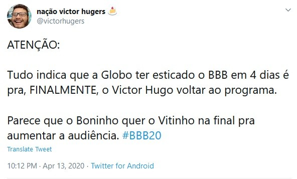 Internauta comemora nova data da final do 'BBB' 20 (Foto: Reprodução Twitter)